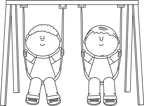 Black and white clipart swing royalty free download Black and White Kids on a Swing Clip Art - Black and White Kids on a ... royalty free download