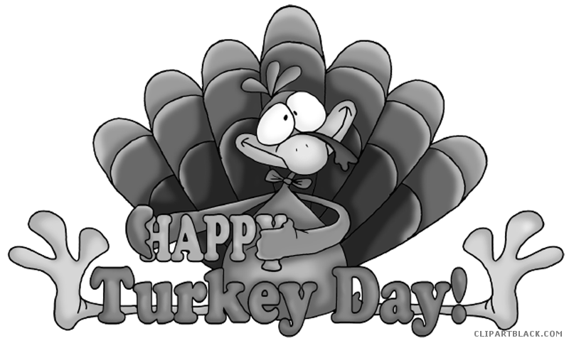 Black and white clipart thanksgiving banner free download Happy Thanksgiving Turkey Animal free black white clipart images ... banner free download