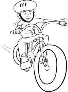 Camping and biking clipart black and white vector transparent download Bicycle Rodeo Clip Art | ... White Cartoon of a Boy Riding a Bicycle ... vector transparent download