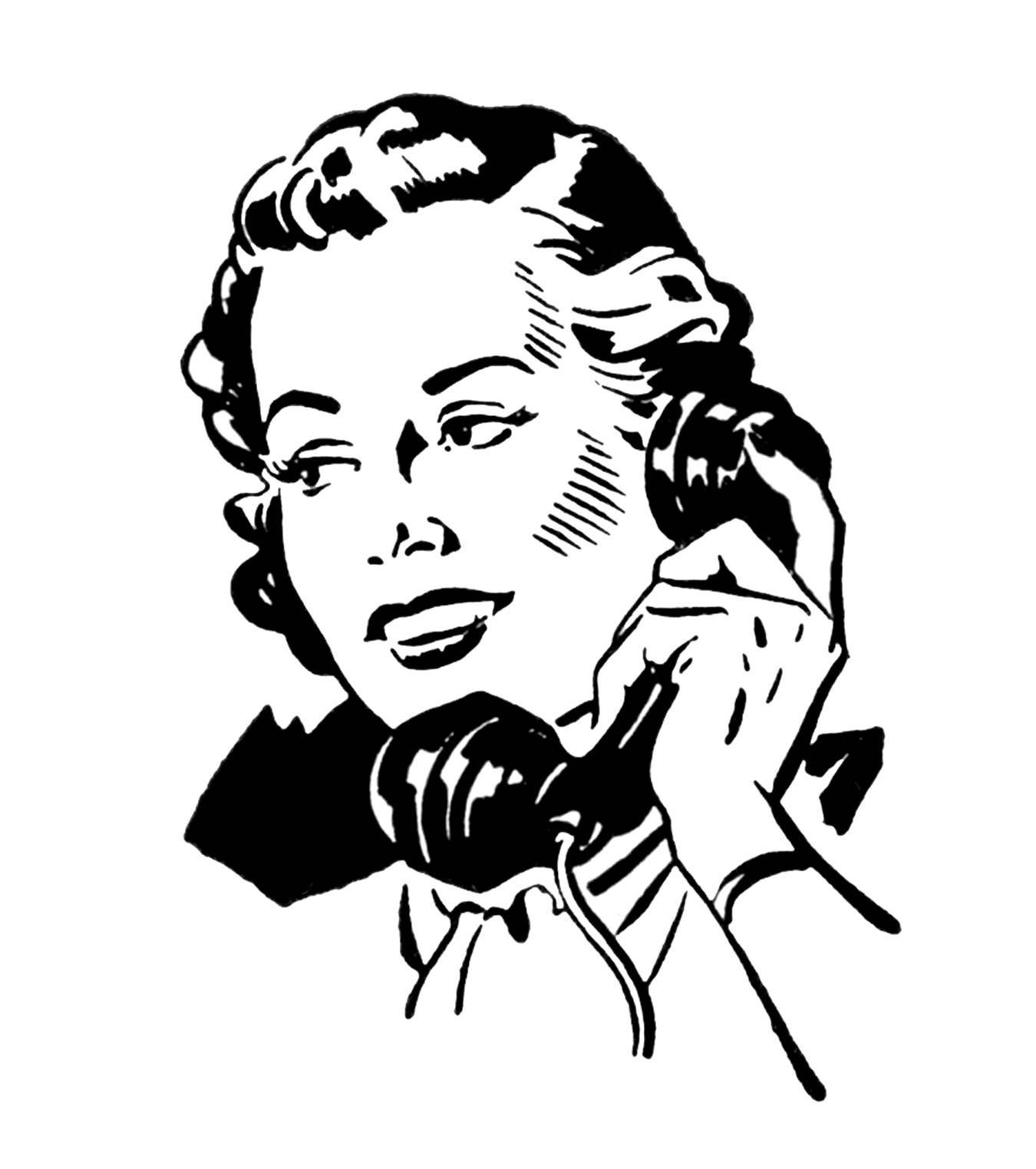 Black and white clipart to talk on the phone jpg freeuse stock 7 Vintage Telephone Images! - The Graphics Fairy jpg freeuse stock