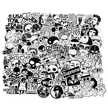 Black and white clipart variety clipart library library FNGEEN Laptop Stickers Black and White 100pcs Variety Vinyl Car Sticker  Motorcycle Bicycle Luggage Decal Graffiti Patches Skateboard Cool Stickers  for ... clipart library library