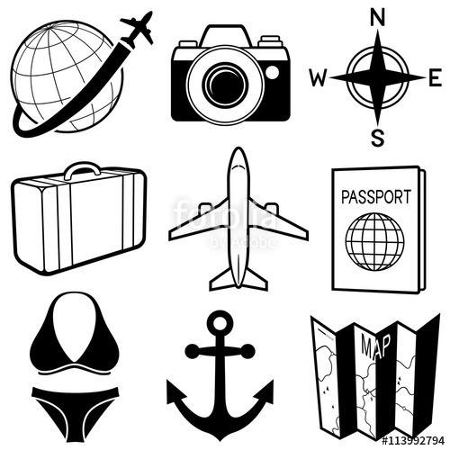 Black and white clipart variety image transparent Vector illustration of a variety of black and white travel-themed ... image transparent