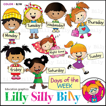 Black and white clipart variety graphic free library Days of the week. Clipart. BLACK AND WHITE & Color Bundle. {Lilly Silly  Billy} graphic free library