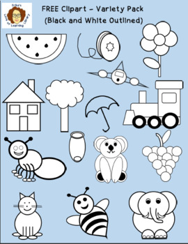 Black and white clipart variety graphic transparent stock FREE Clipart Art - Variety Pack (15 Black and White Outlined Images) graphic transparent stock