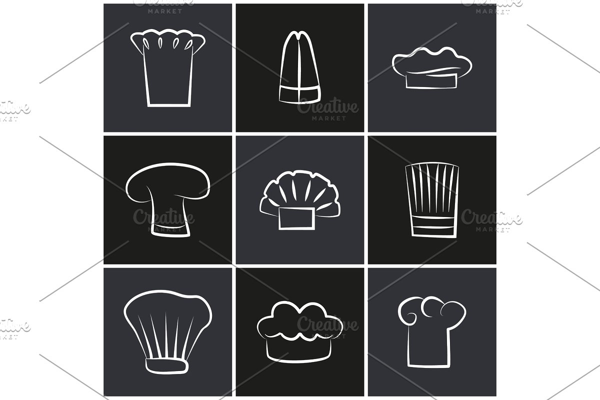 Black and white clipart variety stock Variety Chef Hats, Set of White Cook Headwear Logo stock