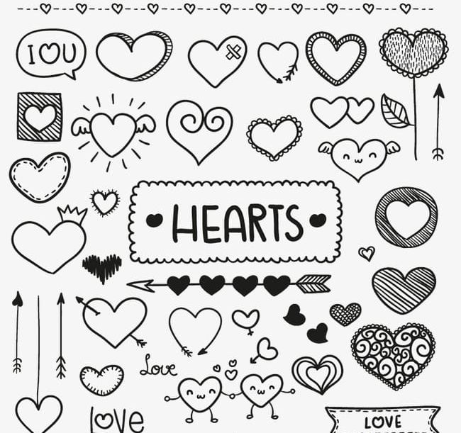 Black and white clipart variety black and white download A Variety Of Hand-painted Love PNG, Clipart, Black, Black And White ... black and white download