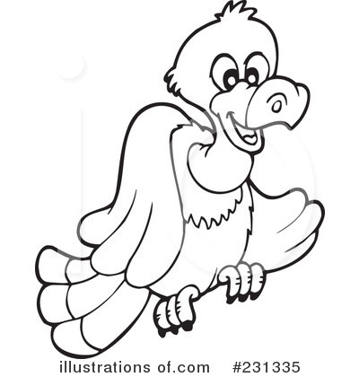 Illustration by visekart . Free black and white clipart of a vulture