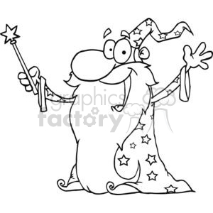 Black wizard wand clipart svg royalty free download Black and white Wizard waving wearing a cape holding a magic wand clipart.  Royalty-free clipart # 380636 svg royalty free download