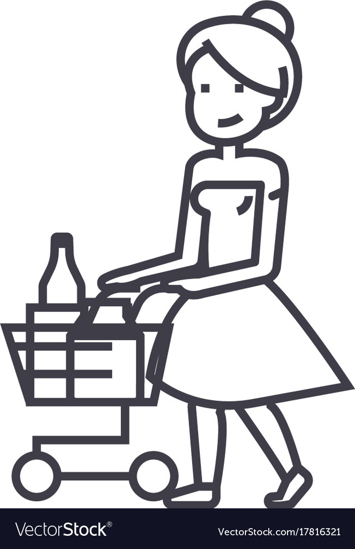 Black and white clipart women shopping at the grocery store clipart royalty free library Woman shopping in supermarket with cart clipart royalty free library