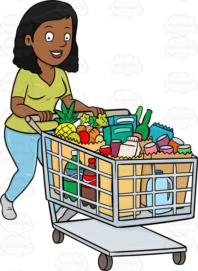 Black and white clipart women shopping at the grocery store picture transparent library Grocery Shopping Clipart Group with 80+ items picture transparent library
