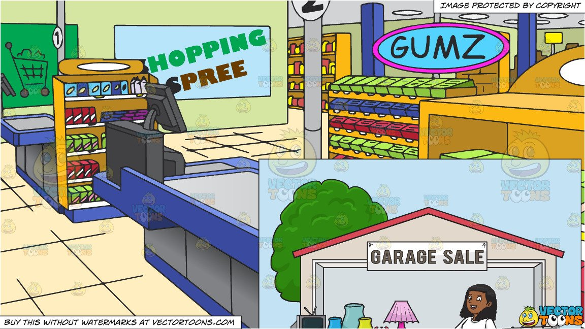 Black and white clipart women shopping at the grocery store clipart freeuse stock A Black Woman Volunteer Having A Garage Sale and The Checkout Counter At A  Grocery Store Background clipart freeuse stock