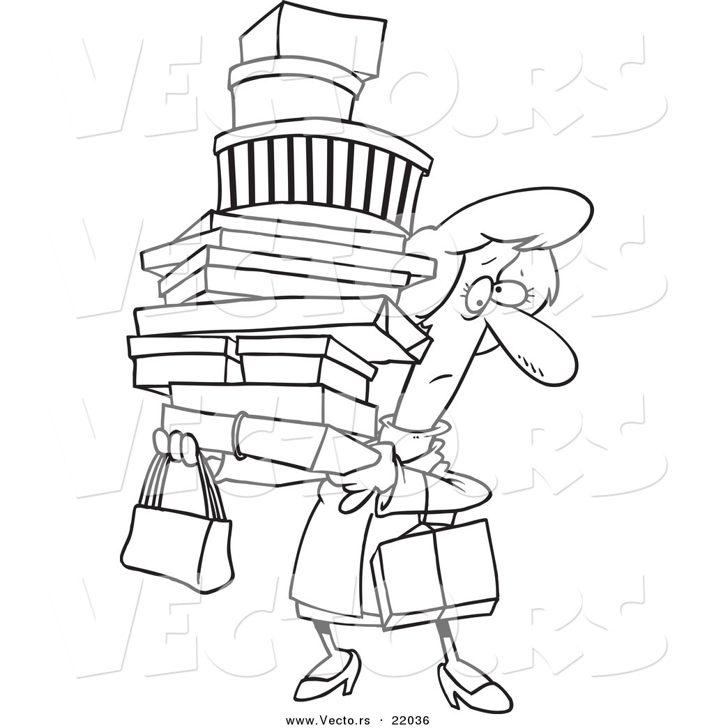 Black and white clipart women shopping at the mall png black and white download Vector of a Cartoon Shopping Woman Carrying Packages - Outlined ... png black and white download