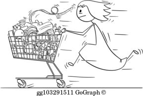 Black and white clipart women shopping at the mall svg transparent stock Shopping Mall Cartoon - Royalty Free - GoGraph svg transparent stock