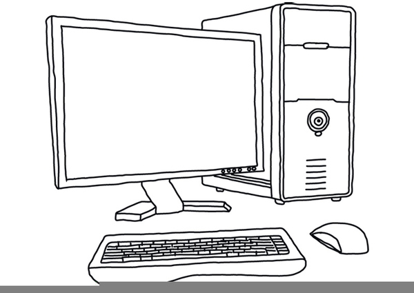 Clipart to use the computer black and white