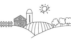 Black and white countryside clipart