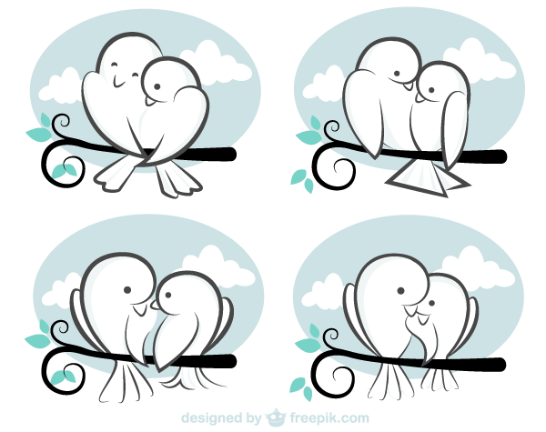 Black and white cute valentine bird clipart svg transparent download Valentine\'s Day Vector, Cute Cartoon Love Birds Image svg transparent download