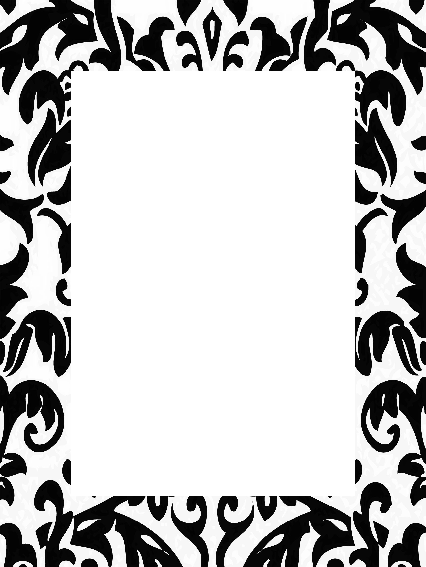 Black and white damask clipart border free svg freeuse stock Black Damask Border svg freeuse stock