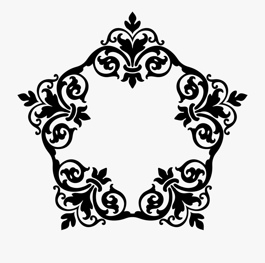 Black and white damask clipart border free svg free Border Svg Damask - Leaf Black Damask Pattern Png #1064970 - Free ... svg free