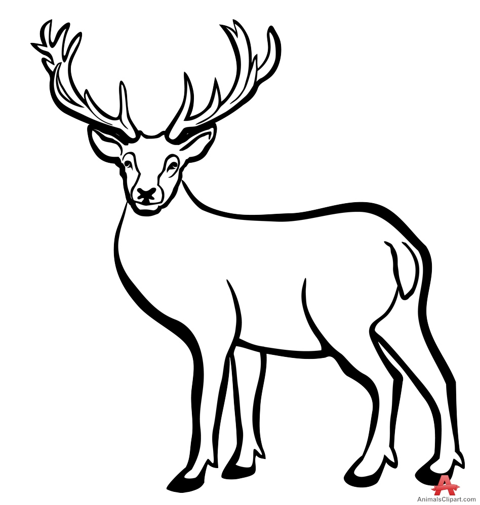 Buck clipart black and white vector freeuse Deer Black And White | Free download best Deer Black And White on ... vector freeuse