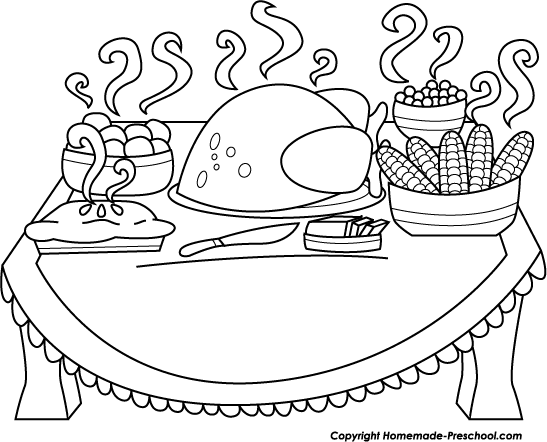 Black and white dinner clipart image black and white download Thanksgiving Dinner Table Clipart Black And White & Free Clip Art ... image black and white download