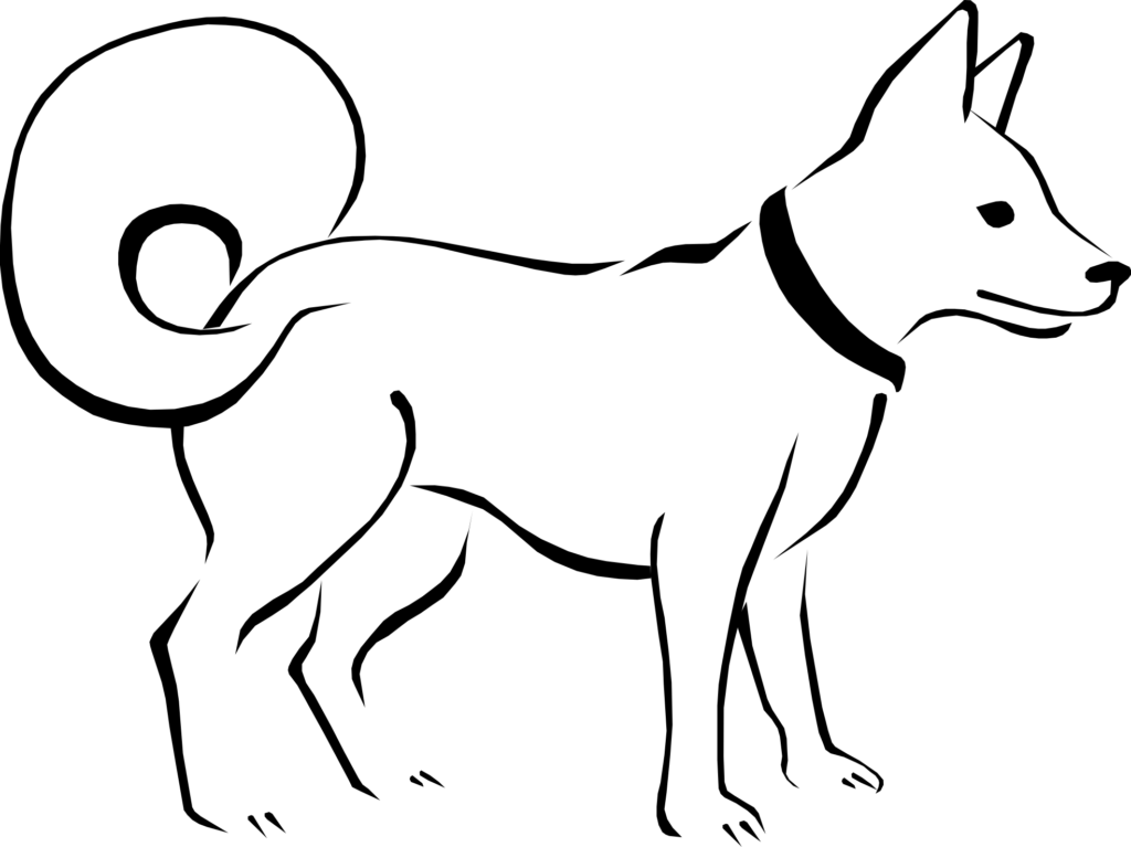 Clipart black and white dog