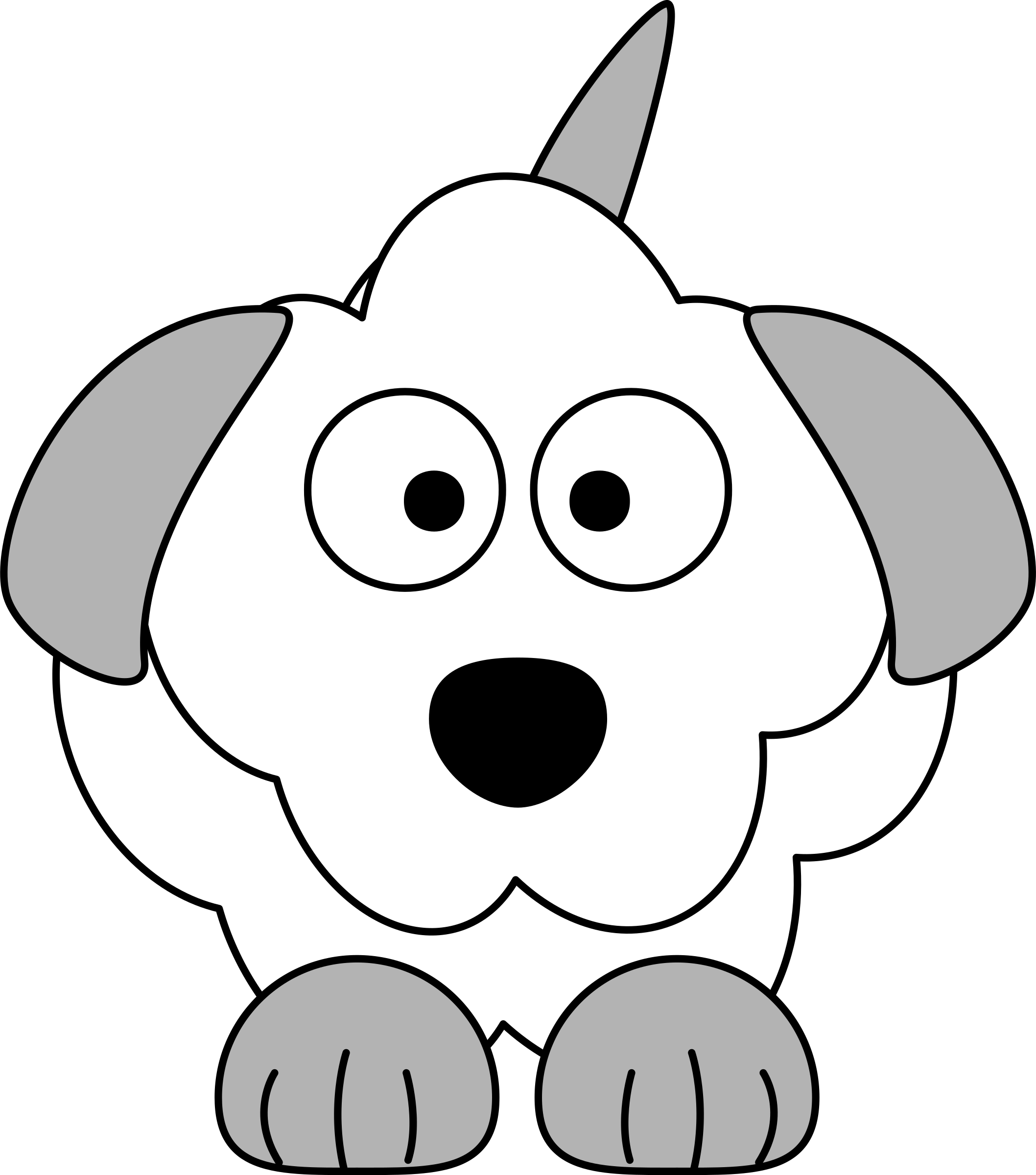 Deputy dog clipart. Black and white cartoon