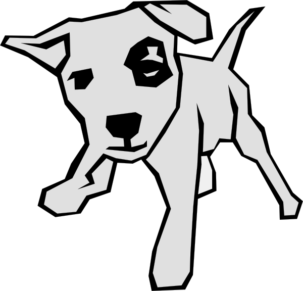Dogs in a dog house clipart black and white. Simple line art drawing