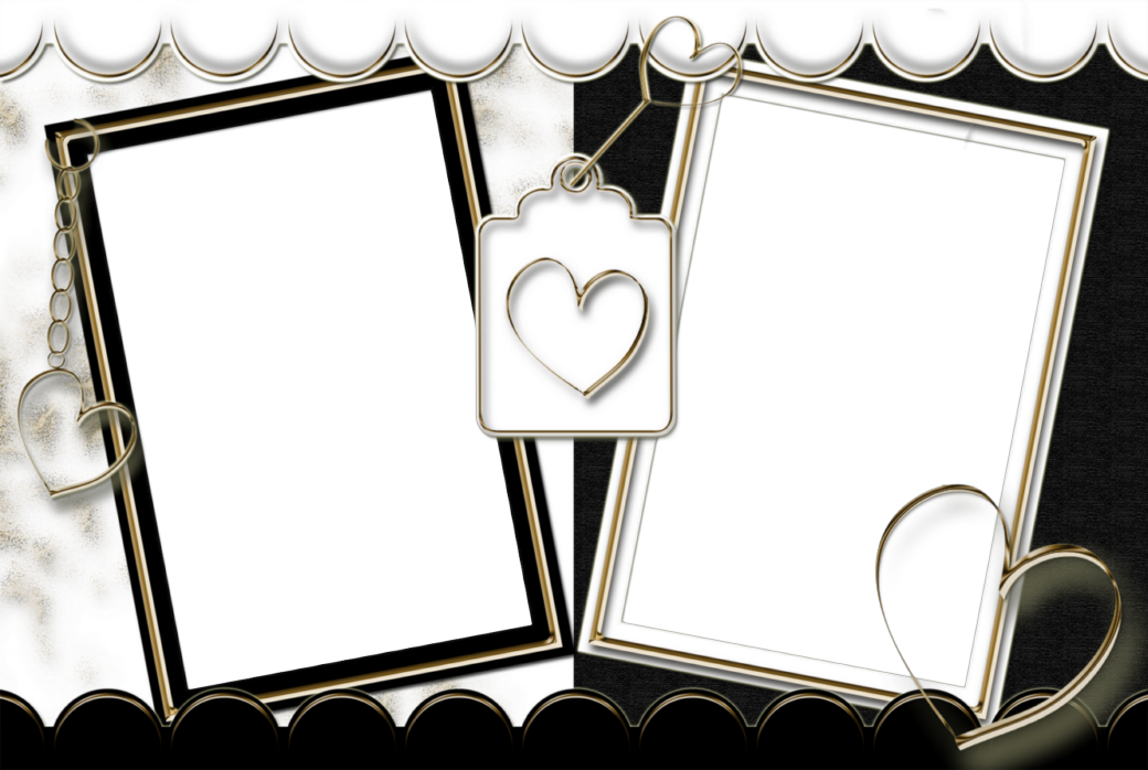 Heart frame clipart black and white freeuse stock Double Transparent Frame Black and White with Hearts | Gallery ... freeuse stock