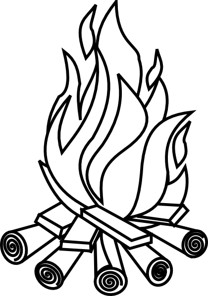 Campfire black and white clipart high res