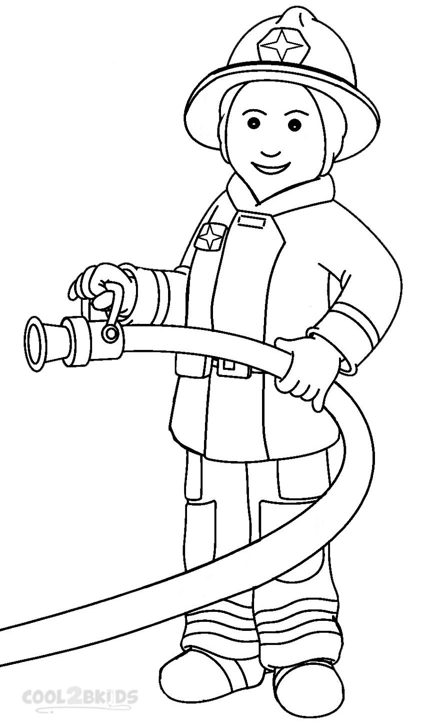 Firefighter black and white clipart