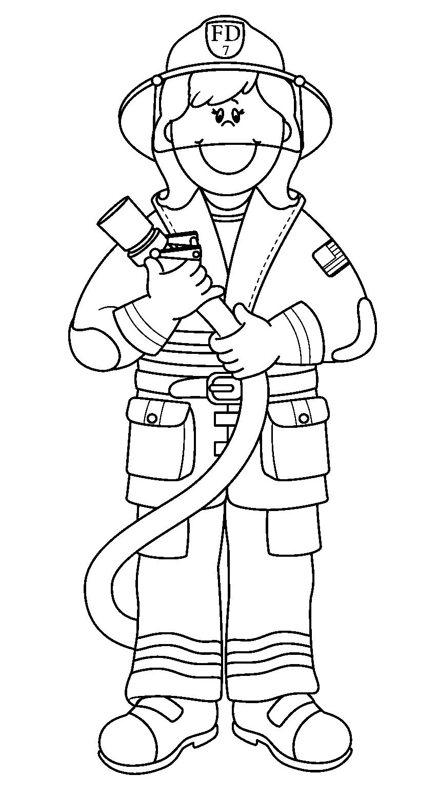White fireman clipart picture library download Printable Fireman Coloring Pages | Printable Firefighter Coloring ... picture library download