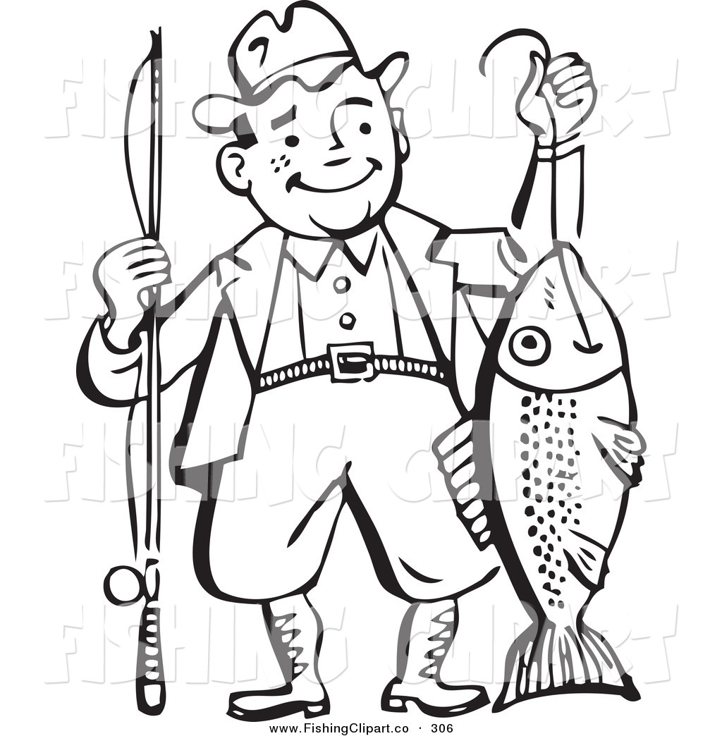 Vintage woman fishing clipart clipart royalty free stock Clip Art of an Old Fashioned Black and White Man Proudly Holding His ... clipart royalty free stock