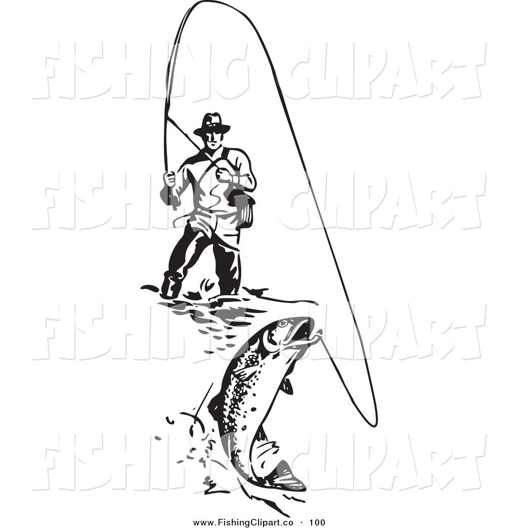 Black and white fisherman clipart no watermark image stock Clip Art of a Sporty Black and White Wading Fisherman Reeling in a ... image stock