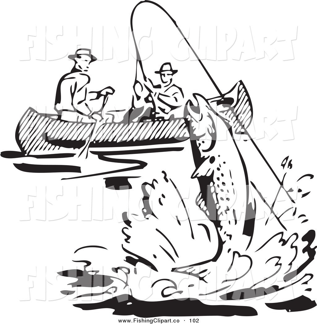 Black and white fisherman clipart no watermark jpg freeuse stock Clip Art of a Retro Black and White Men Fishing in a Boat, a Fish ... jpg freeuse stock