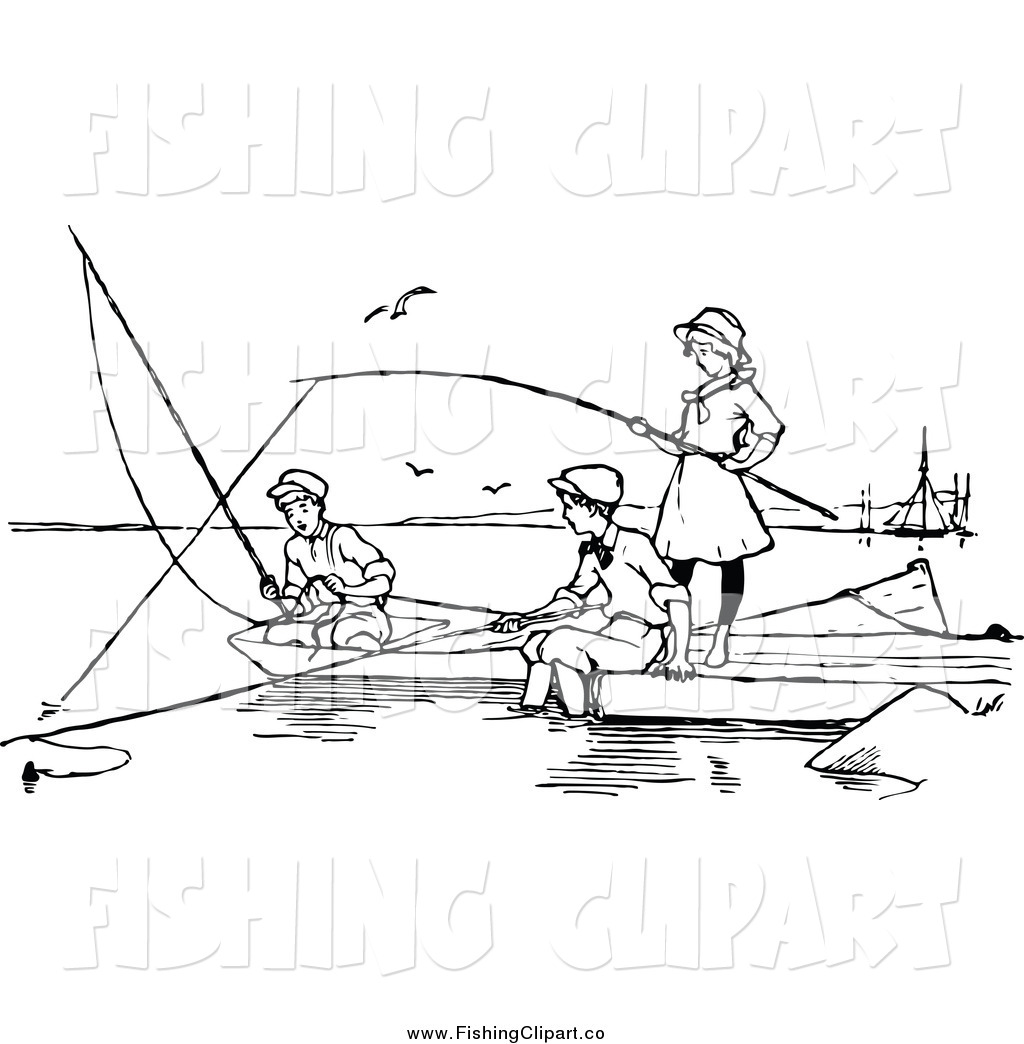 Black and white fisherman clipart no watermark banner transparent Clip Art of Black and White Children Fishing by Prawny Vintage - #772 banner transparent