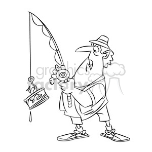 Black and white fisherman clipart no watermark clip black and white library stan the cartoon fishing character catching a can of tuna black white  clipart. Royalty-free clipart # 397835 clip black and white library