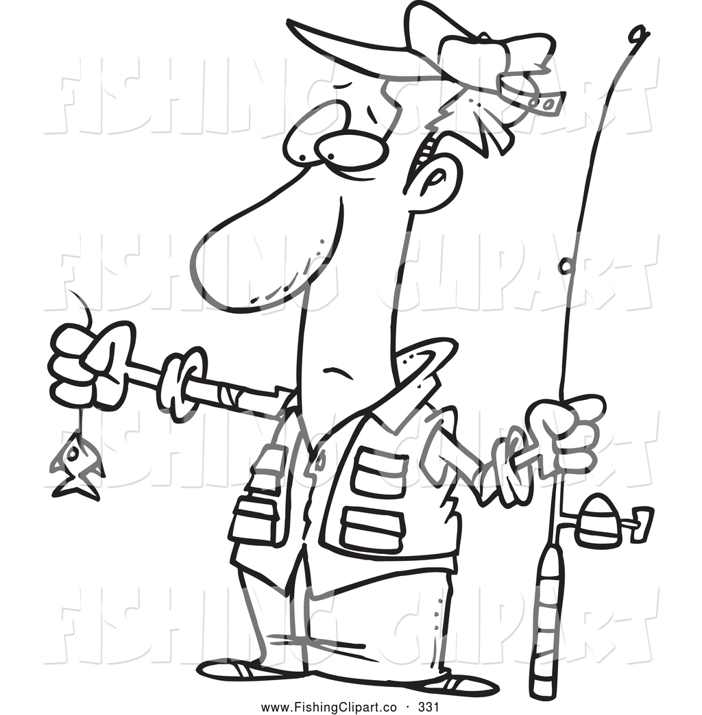 Black and white fisherman clipart no watermark picture library download Clip Art of a Black and White Sketch of a Disappointed Fisherman ... picture library download