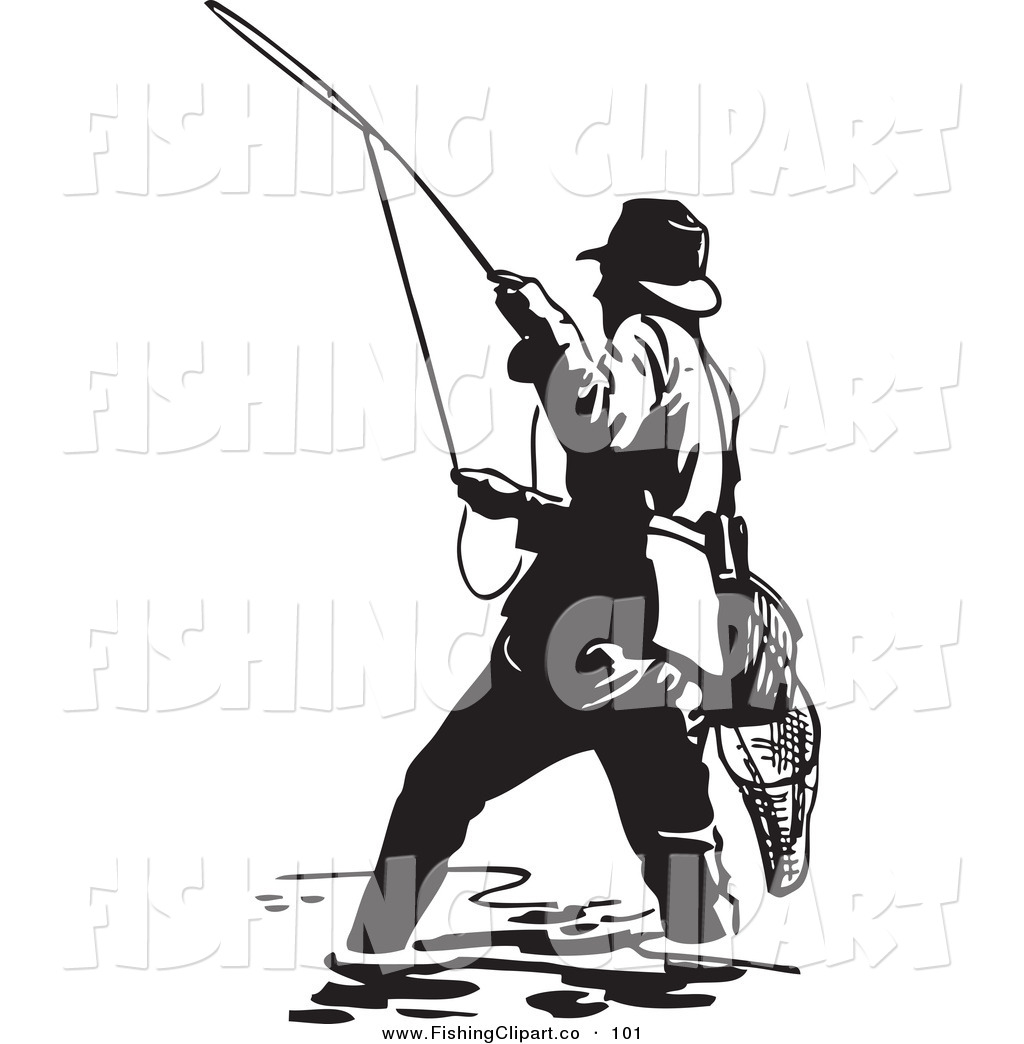 Vintage woman fishing clipart svg library library Clip Art of a Sporty Black and White Wading Fisherman Casting a Line ... svg library library