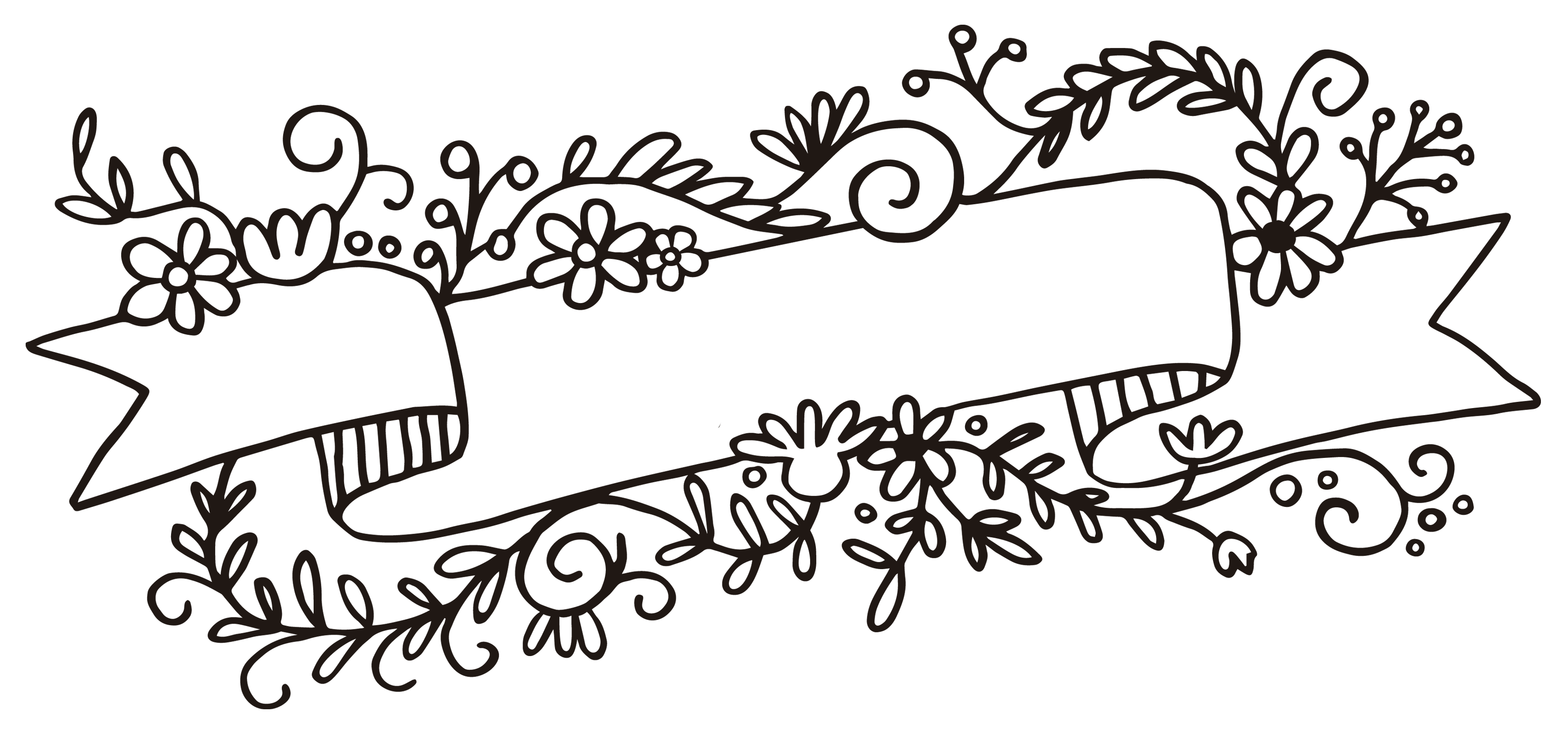 Black and white flower banner clipart image free library Rubber stamp Flower Web banner Clip art - floral banner 3300*1543 ... image free library