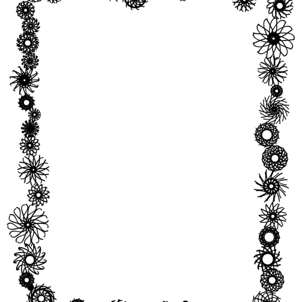 Clipart flower border black and white picture freeuse Border Clipart Black And White rainbow clipart hatenylo.com picture freeuse