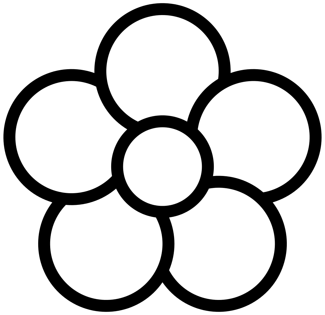 Pretty flower clipart black and white freeuse download File:Five-petal flower icon.white.svg - Wikimedia Commons freeuse download