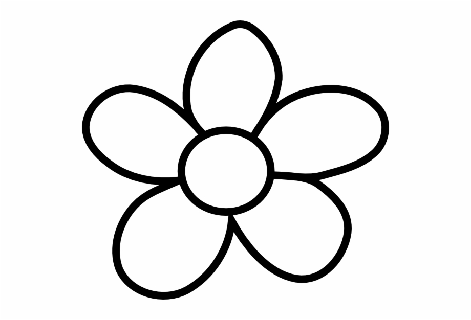 Clipart flowers outline png royalty free library Black Flower Outline - Flower With Stem Clip Art Black And White ... png royalty free library