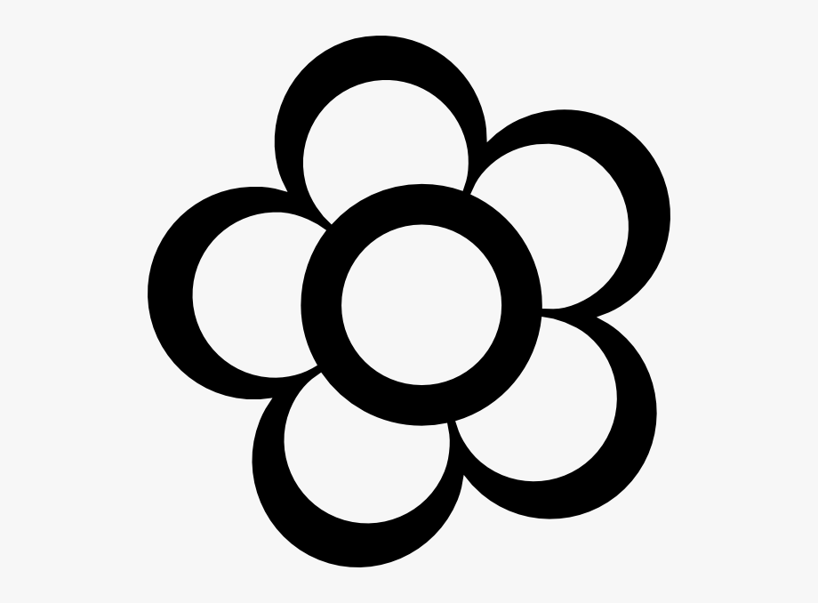 Black and white flower outline free clipart svg transparent library Pix For Clipart Flower Outline - Coloring Pages Thick Lines #241681 ... svg transparent library