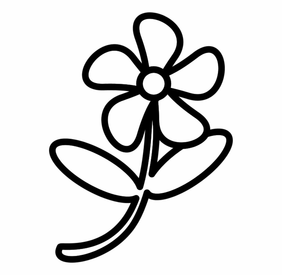 Black and white flower outline free clipart vector transparent library White Flower Outline Clipart Tulip - Clip Art Of Flower, Transparent ... vector transparent library