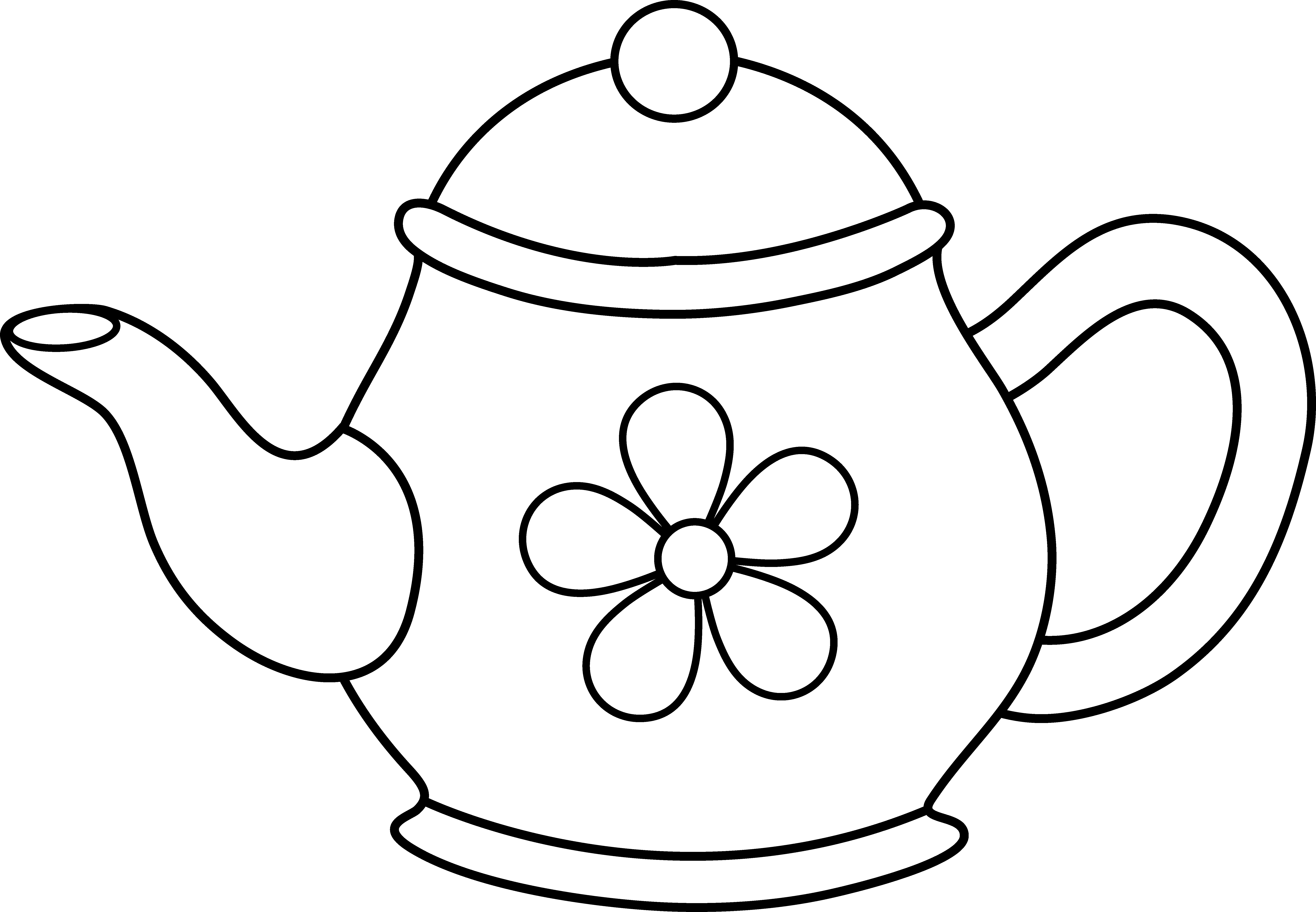 Cute flower clipart black and white. Pot panda free images