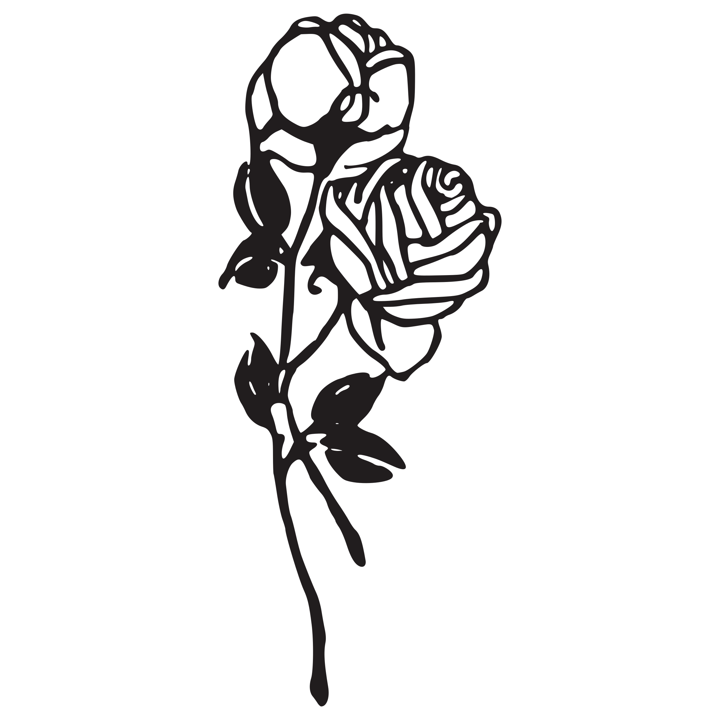 Flower stem black and white clipart vector stock Clipart - Two Roses vector stock