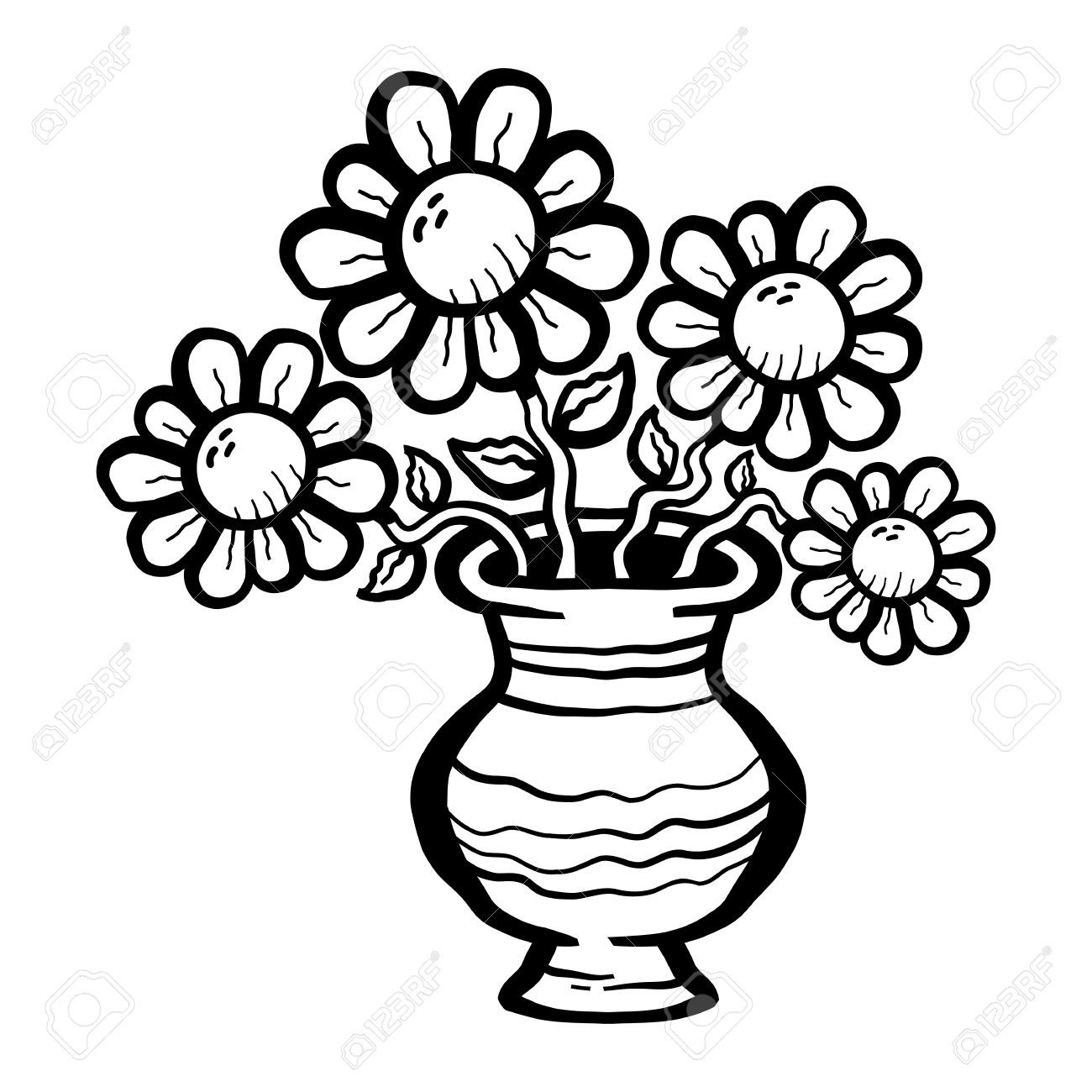 Clipart black and white flowers in a vase graphic black and white library Flower vase clipart black and white Fresh Flower Vase Clipart Black ... graphic black and white library