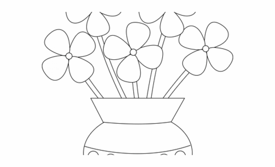 Black and white flowers in a vase clipart vector free library Vase Clipart Outline Flower - Clip Art, Transparent Png Download For ... vector free library