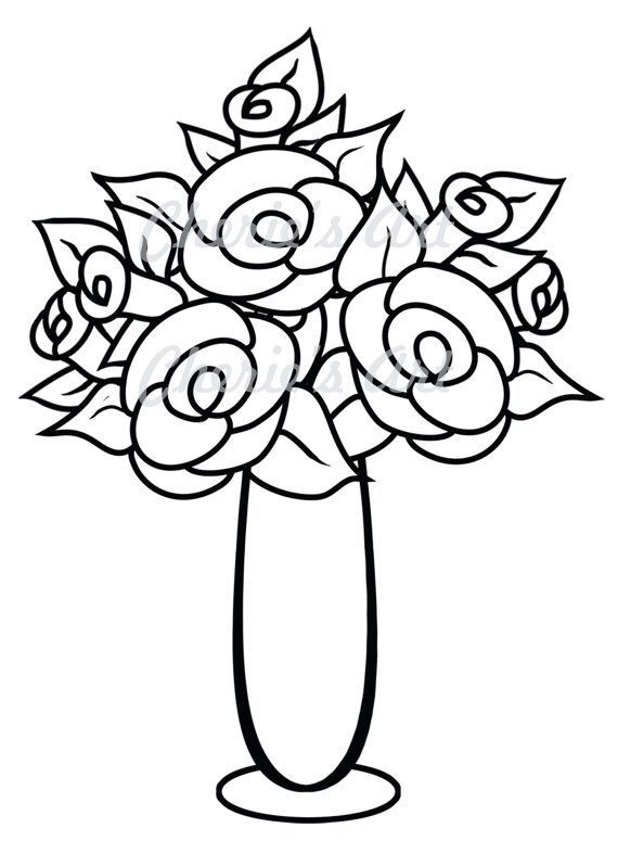 Clipart black and white flowers in a vase picture freeuse Clipart black and white flowers in a vase 1 » Clipart Portal picture freeuse