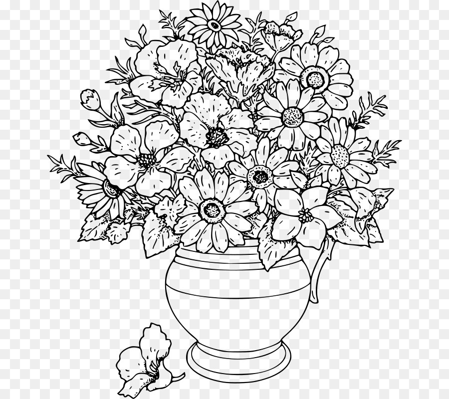 Black and white flowers in a vase clipart svg library Black And White Flower png download - 712*800 - Free Transparent ... svg library